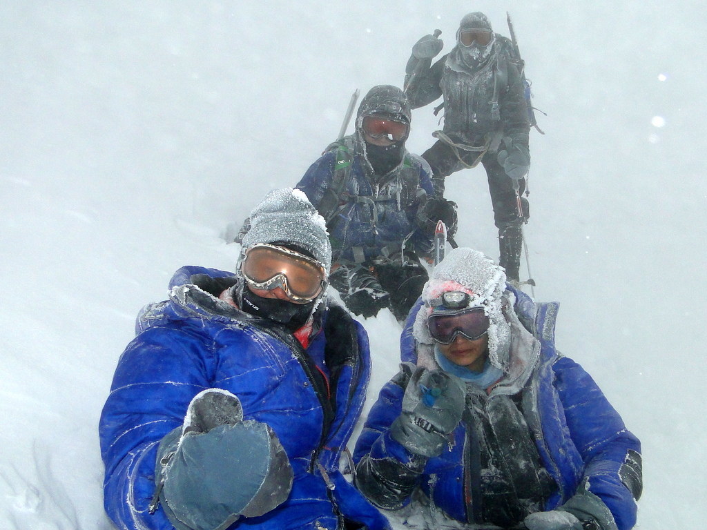 Ritika at elbrus in severe snow storm during Elbrus Race 2014